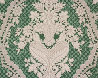 1940s Vintage Wallpaper Large White Floral Victorian on Green