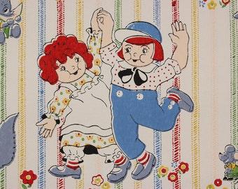 1970's Vintage Wallpaper Retro Children Boys Girls Bunnies Bears Red and Blue