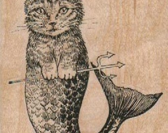 cat mermaid  craft rubber stamps place cards gifts wood mounted number 17863