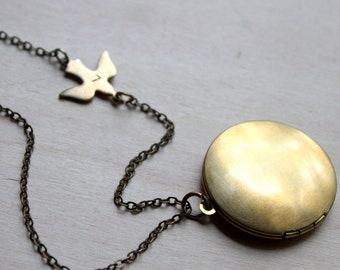 FREE SHIPPING. Brass Locket with Initial Bird. Hand Stamped Initial Letters. Necklace.