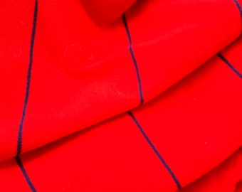 Primary Red with Blue Lines Cotton Knit