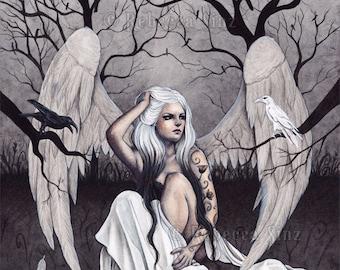 A Glimmer of Hope 8.5 x 11 Print Angels Ravens Crows Dark Sad