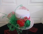 Fascinator, Christmas, Mini Top Hat, Feathers, Jewel, Satin Roses, Tulle, White,Red, Green, Hair Clip,Children,Teens,Women