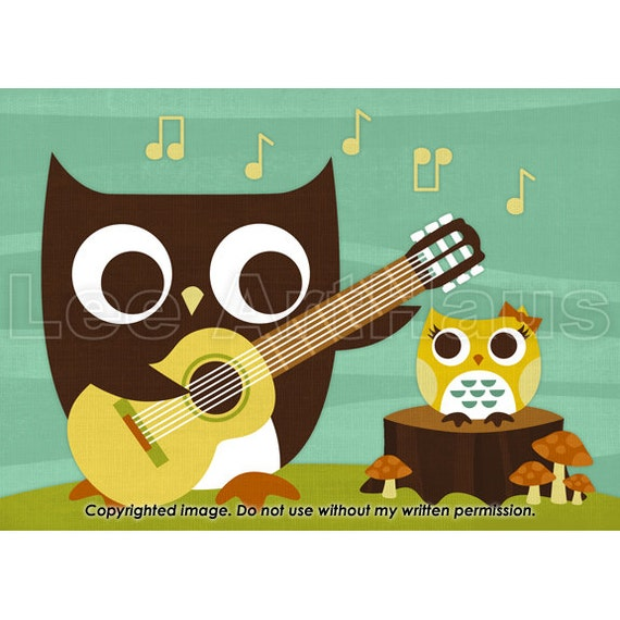 owl playing the guitar - photo #1