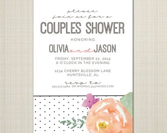 bridal shower invitation, baby shower, wedding or dinner invitation  - watercolor floral and dots.