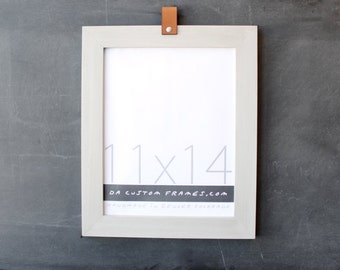 11x14 leather collection picture frame (natural sand colored finish) . 11x14 handmade picture frame