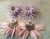 Large Unusual Clip On Earrings Pink and Purple