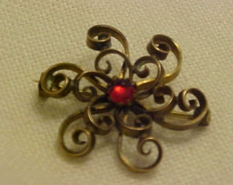 1890's Vintage Antique Curly Q Brooch with Ruby Cabochon Stone set in gold plated brass