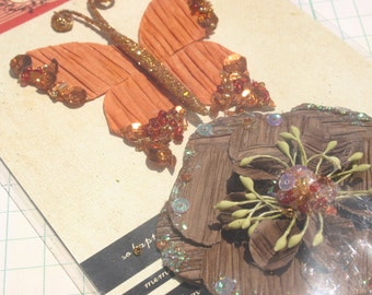 Prima Flowers and Butterflies - Orange and Brown - Scrapbook Mixed Media Florals - AUTUMN COLORS