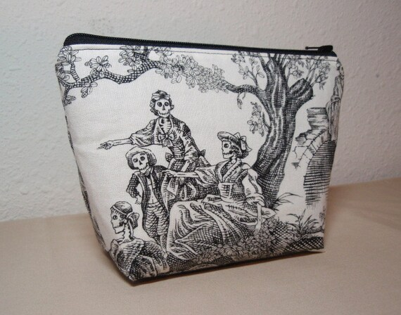 Midnight Picnic Black and White Midnight Pastoral Lined Cosmetic Zipper Pouch