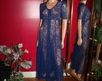 Vintage 80s  Navy Lace  Dress Flapper Garden  Tea Party Size N/A