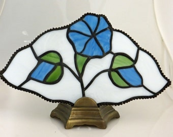 Stained Glass Lamp Fan Light Morning Glory Flower Blue Green (LAM004)