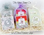 Holiday Gift Set, Soap Gift, Bath Body Gift, Set of 3 Holiday Soaps, Stocking Stuffer