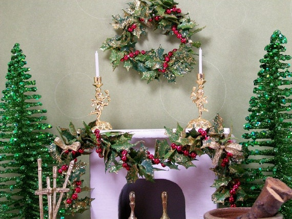 Dollhouse Miniature Christmas Wreath n Swag Garland Set Red Gold One Inch Scale