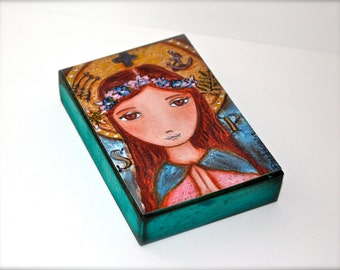 Saint Philomena - Aceo Giclee print mounted on Wood (2.5 x 3.5 inches) Folk Art  by FLOR LARIOS