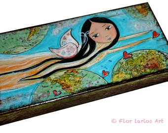 Give Love Fairy - Giclee print mounted on Wood (5 x  10) Folk Art  by FLOR LARIOS