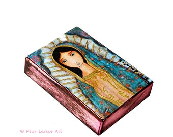 Virgen de Guadalupe - Giclee print mounted on Wood (8 x 10 inches) Folk Art  by FLOR LARIOS