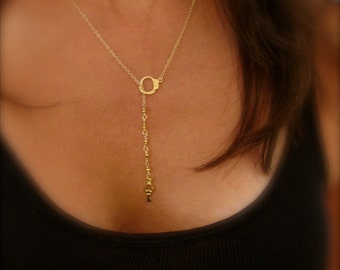 Handcuff & Key Gold Lariat Necklace