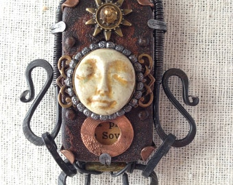 Found Object Steel and Copper Assemblage Rustic Wire Wrapped Necklace