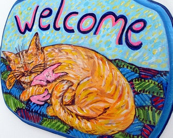 Cat Welcome Sign, Cat Painting, Cat Art, Cat Lover Gifts, Housewares, Home Decor, Front Door Decoration, Hanging Welcome Sign, Cat Artwork