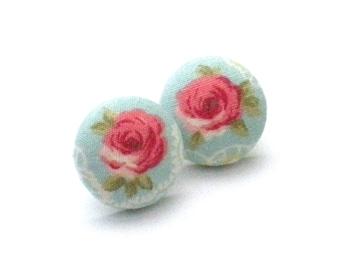 Button Earrings, Rose Earrings, Rose, Valentines Day, Love, Earrings, Jewelry