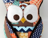 Plush Owl Pillow - patched owl- minky - brown