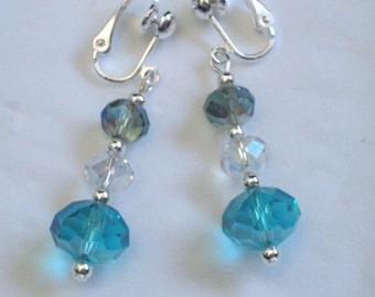 Handmade blue faceted crystal earrings