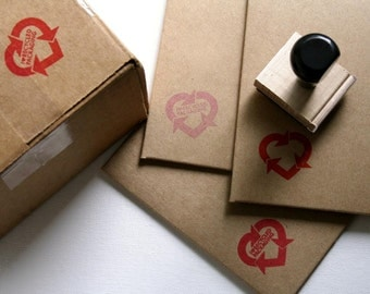 I Heart Recycled Packaging Rubber Stamp