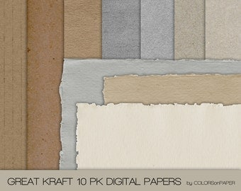 Great Kraft Digital Papers. 10 Assorted Textured Papers. 7 Textures 3 Torn edges. Digital Scrapbooking. Personal and Limited Commercial Use.