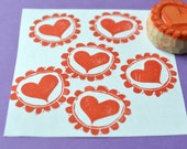 heart hand carved rubber stamp, handmade rubber stamp