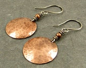 Copper Disc Earrings Textured Copper Discs Hammered Copper Earrings, Eco Friendly Jewelry Gifts for Her