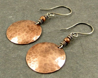 Copper Disc Earrings Textured Copper Discs Gifts for Her