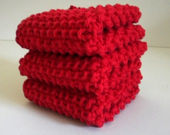 Red Knit Red Dishcloth / Cotton Washcloth / Red Cloth / Red Knit Wash Rags / Knitted Cloths