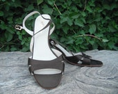 RESERVED Vintage Dark Brown Chunky High Heel Sandals Made in Italy for Saks Fifth Avenue -- Size 7.5 M