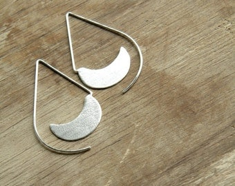 Long Urban Hoops -  sterling silver drop open hoop earrings, textured, matte, made in Italy