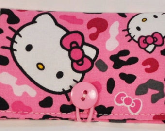 Fabric Business Card Holder Pink Hello Kitty