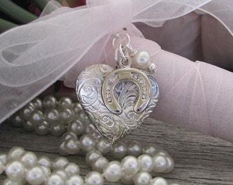Brides Horseshoe Heart Locket, Irish Wedding Tradition