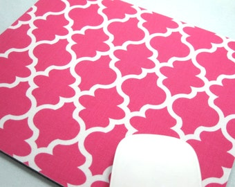 Buy 2 FREE SHIPPING Special!!   Mouse Pad, Computer Mouse Pad, Fabric Mousepad    Pink Quatrefoil