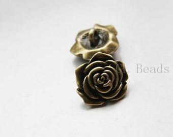 6pcs Antique Brass Tone Base Metal Button - Flower 18x10mm (22408Y-E-567)