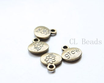 30pcs Antique Brass Tone Base Metal Charms-Grow Sign 13x11mm (9889Y-C-323)