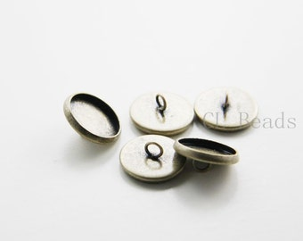 4pcs Antique Brass Tone Brass Base Cover - Lid - Cap - One Loop 12mm (395C-R-232)