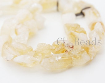 One Strand (15 Inches) Natural Hand Cut Rough Citrine Stone - Nugget (61)
