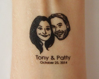 Custom portraits Wedding favors for guest custom Save the date / tattoos / Personalized Gift for couples art / bachelorette fiance face idea