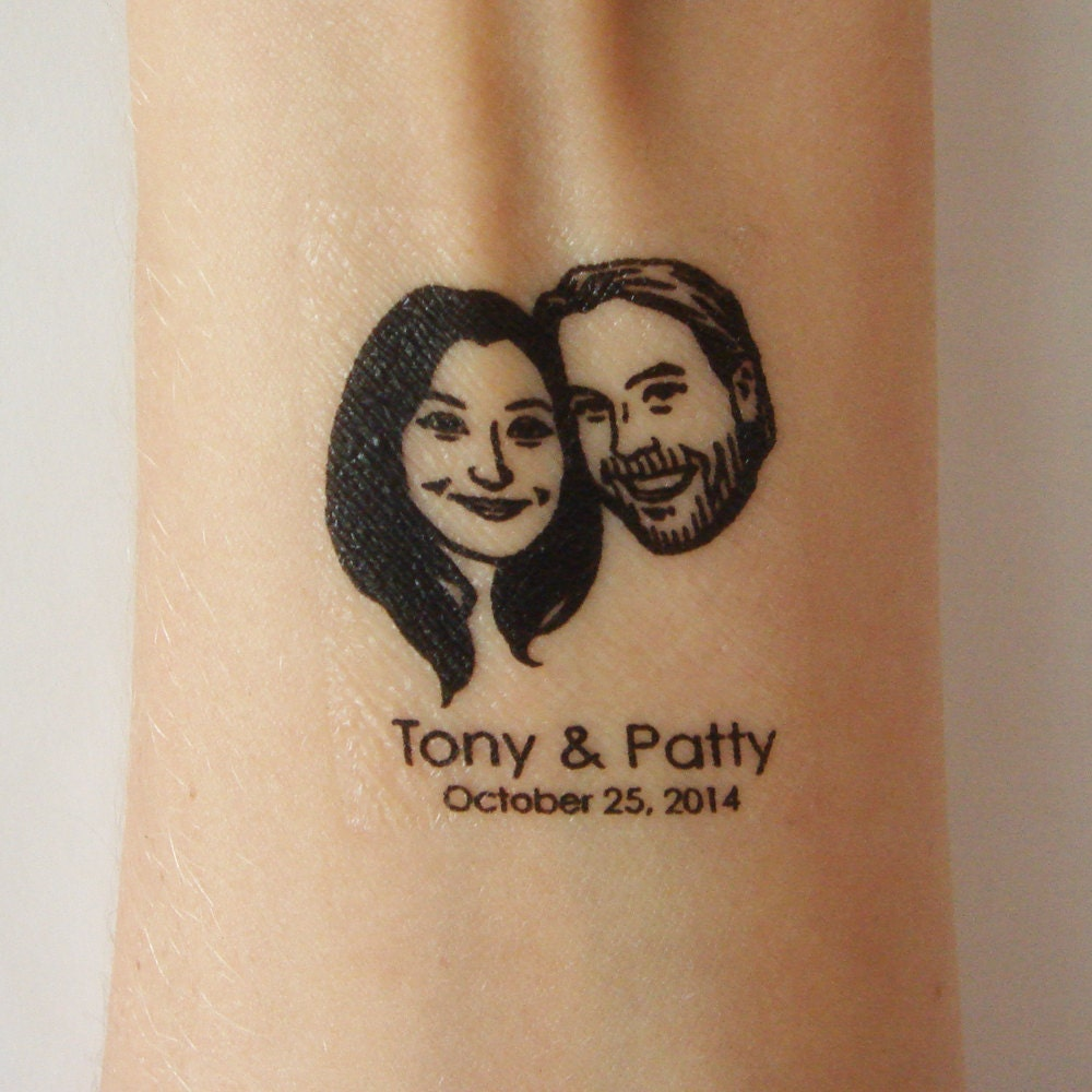 temporary tattoos custom couple portrait for weddings favors invitations save the date. Black Bedroom Furniture Sets. Home Design Ideas