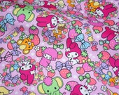 "Sanrio fabric my melody and sweets 50cm x 106  cm or 19.6"" by 42 ""  Half Meter"