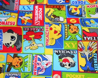 pokemon fabric pikachu 19.6 inch by 21  inch or 50 cm by 53  cm Fat Quarter