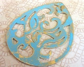 Teardrop pendant, large chunky altered VERDIGRIS teal and gold scroll filigree 2 pcs