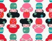 Fat Quarter -Hello Tokyo Kokeshi Dolls in kimono on white by Robert Kaufman Fabrics ALL-14000-263 Rainbow