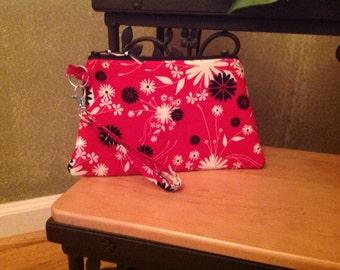 Floral~ Black, Red, Ivory ~ Raegan Wristlet