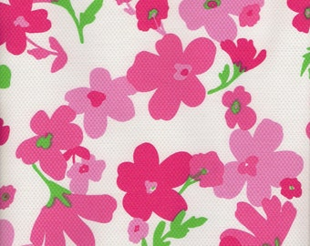 """White Pique Stretch Cotton with Pink Flowers . 51"""" wide. 1 Yard."""